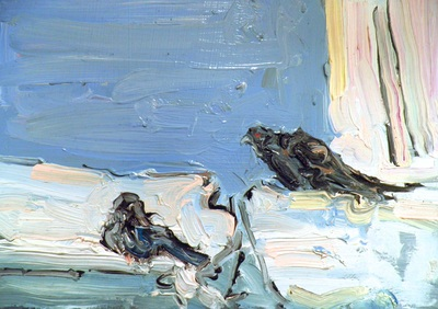 Pigeons - 14.8x21cm, Oil on Card, 2012, Martin Hill