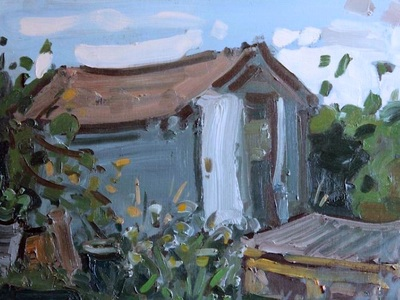 Garden Shed - 30x40cm, Oil on Board, 2015, Martin Hill