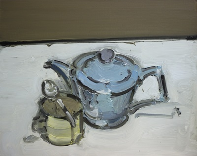 Blue Teapot and Cup - 40x50cm, Oil on Board, 2015, Martin Hill