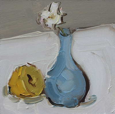 Still Life with Lemon and Vase - 20x20cm, Oil on Board, 2015, Martin Hill