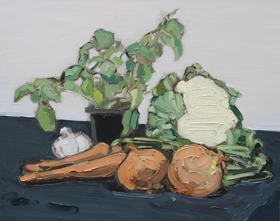 Vegetables - 40x50cm, Oil on Board, 2015, Martin Hill
