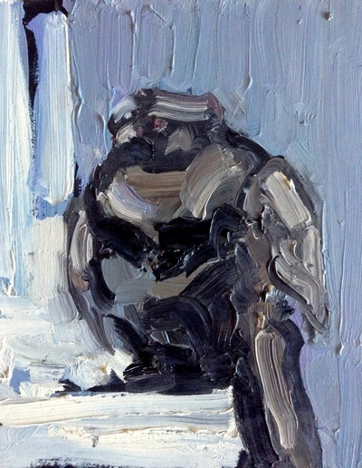 Pigeon - 14.2x17.7cm, Oil on Card, 2012, Martin Hill