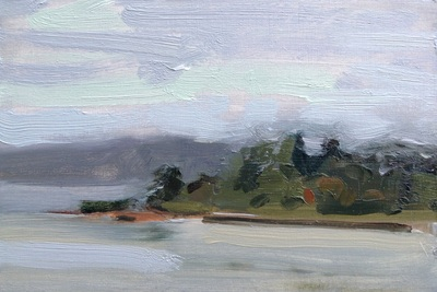 Invergowrie Bay - 19.8x13.5cm, Oil on Board, 2015, Martin Hill