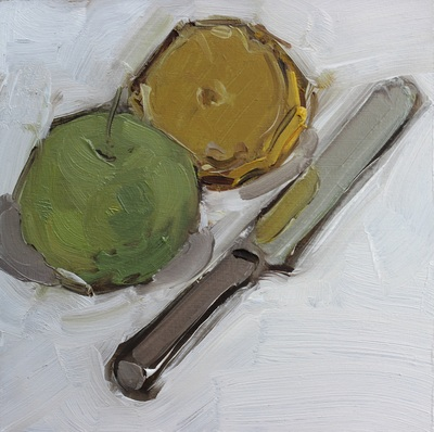 Apple and Lemon with Knife - 20x20cm, Oil on Board, 2015, Martin Hill