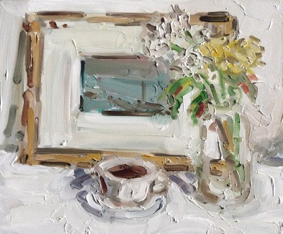 Still Life with Coffee and Flowers - 25x30cm, Oil on Board, 2014, Martin Hill