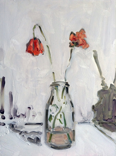 Poppies - 30x40cm, Oil on Board, 2014, Martin Hill