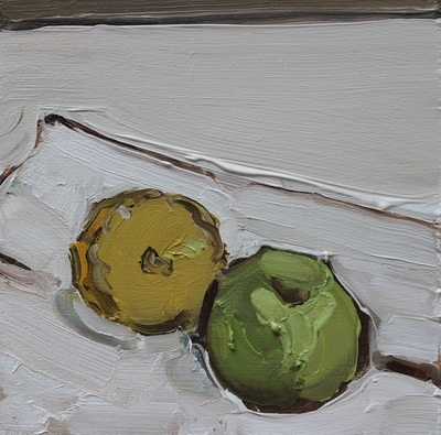 Apple and Half Lemon on Napkin - 20x20cm, Oil on Board, 2015, Martin Hill