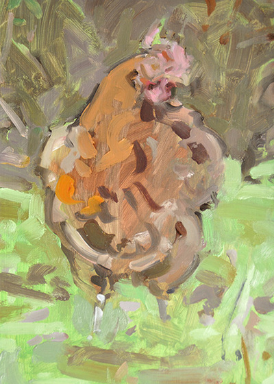 Chicken Study - 14.8x21cm, Oil on Card, 2015, Martin Hill