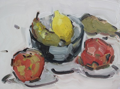 Bowl with Fruit - 30x40cm, Oil on Board, 2015, Martin Hill