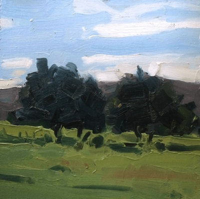 Trees in Field - 20x20cm, Oil on Board, 2015, Martin Hill