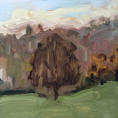 Landscape with Tree - 18.2x18.2cm, Oil on Board, 2014, Martin Hill