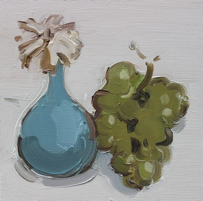 Flower and Grapes - 20x20cm, Oil on Board, 2015, Martin Hill