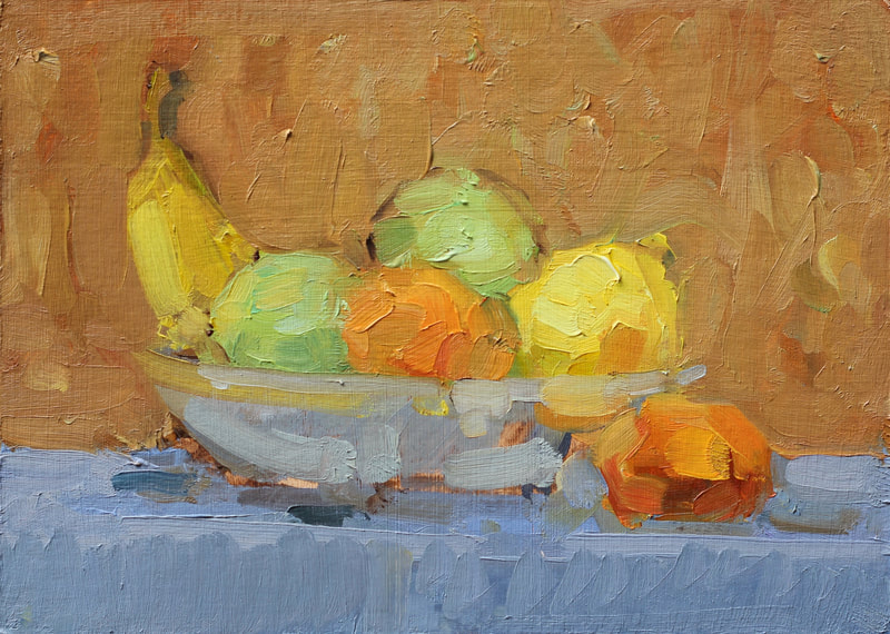 Bowl of Fruit Study II - 15x20cm, Oil on Card,  Martin Hill