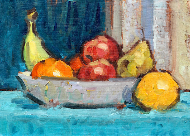 Bowl of Fruit Study III - 15x21cm, Oil on Card, Martin Hill