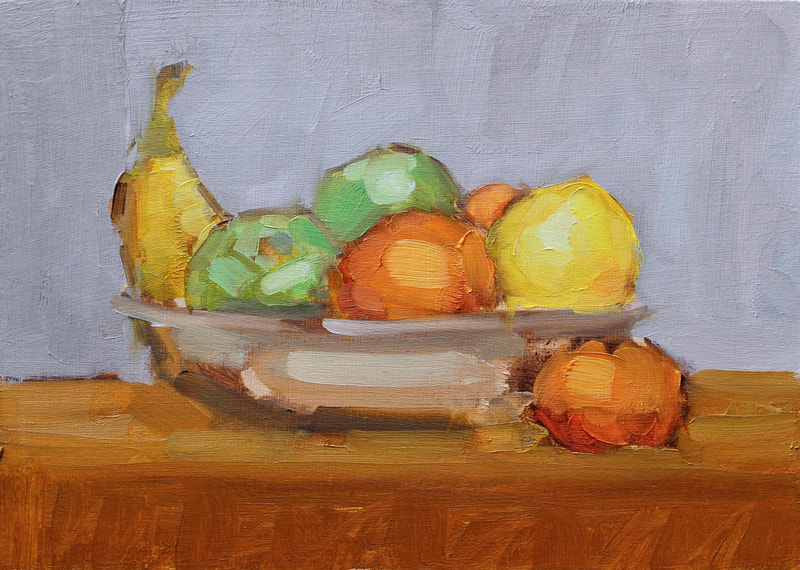 Bowl of Fruit Study I - 15x20cm, Oil on Card,  Martin Hill