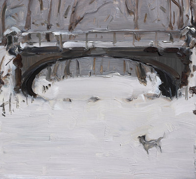Bridge in Snow - 29x31cm, Oil on Board, 2015, Martin Hill