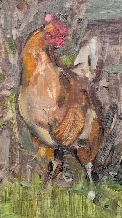 Brown Cockerel - 11.2x19.9cm, Oil on Board, 2016