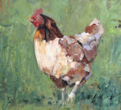 Chicken - 20x21.7cm, Oil on Board, 2017, Martin Hill
