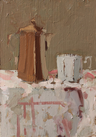 Coffee Pot and Cup - 14.7x20.9cm, Oil on Card, 2018, Martin Hill