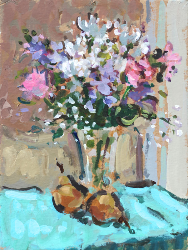 Flowers and Pears, 15.2x20.3cm, Acrylic on Card, Martin Hill
