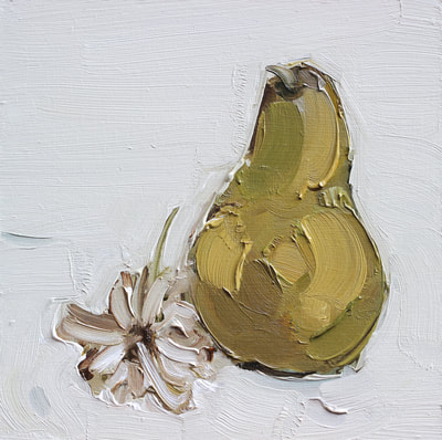 Martin Hill, Still Life, Flower and Pear, Oil Painting, Painting,