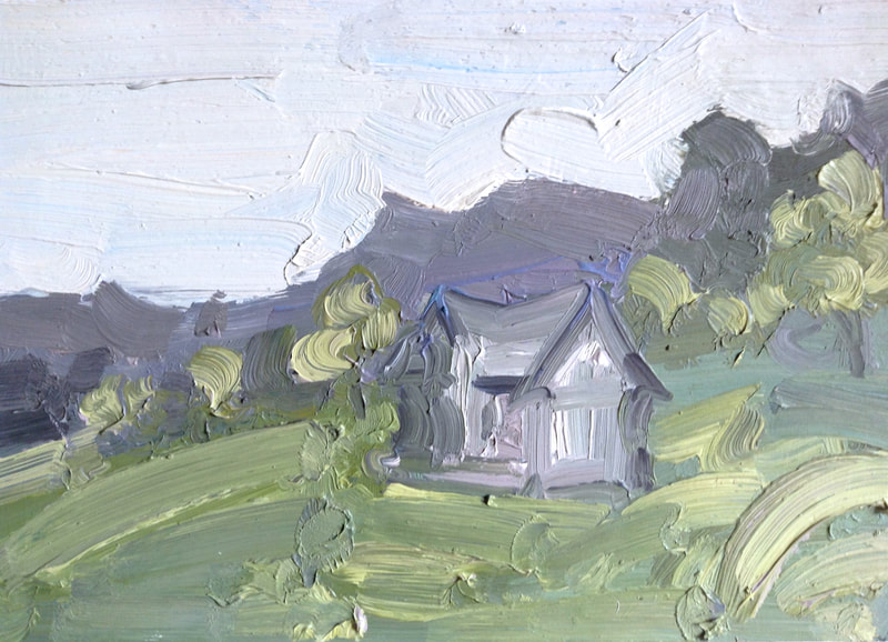 Mountain Cottage - 23.5x34cm, Oil on Card, 2014, Martin Hill