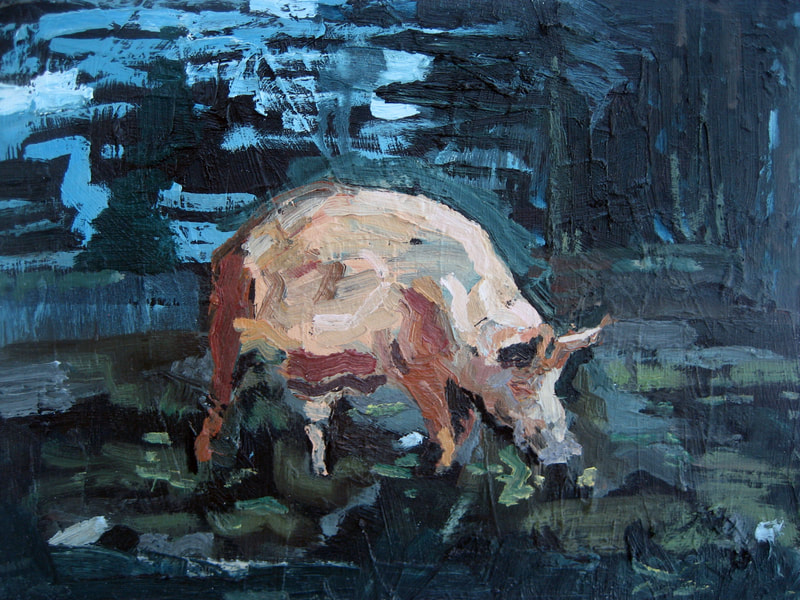 Pig II - 30x40cm, Oil on Board, 2009 - Collection of The University of Dundee, Martin Hill