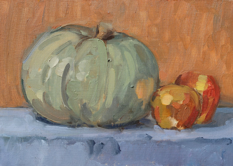 Pumpkin and Apples - 15x20cm, Oil on Card,  Martin Hill