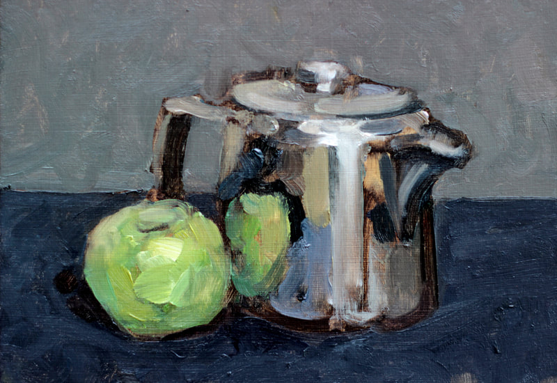 Silver Teapot and Apple - 15x21cm, Oil on Card, 2018, Martin Hill