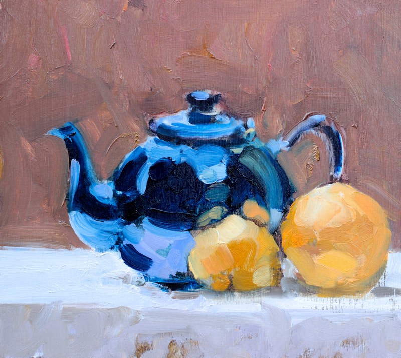 Still Life with Blue Teapot   - 18x19.9cm, Oil on Board, 2018, Martin Hill