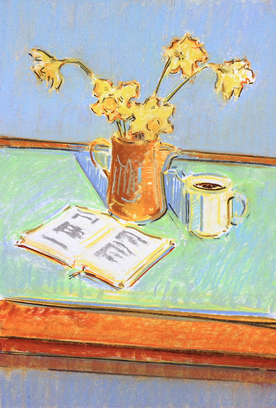 Still Life with Daffodils - 28x40cm, Pastel on Paper, 2019, Martin Hill