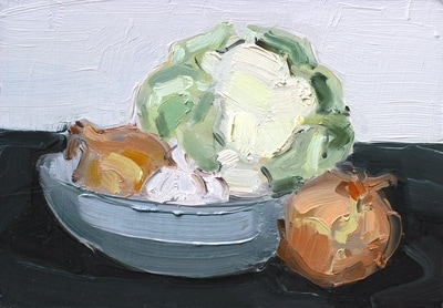 Still Life - 14.8x21cm, Oil on Card, 2015, Martin Hill