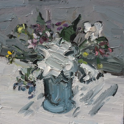 Vase of Flowers - 30x30cm, Oil on Board, 2015, Martin Hill