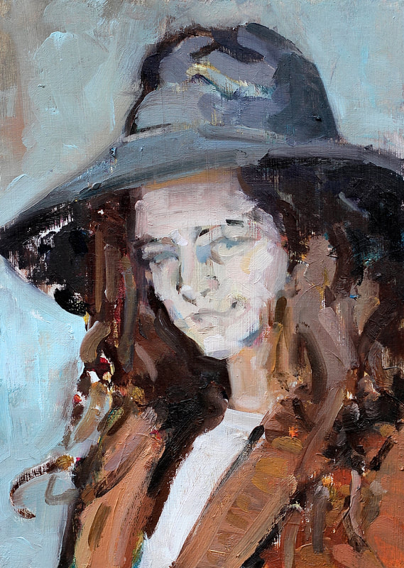 Young Woman with Hat - 15x21cm, Oil on Card,  Martin Hill